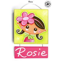 Plaque de porte personnalisable Rose