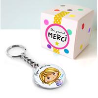 Porte-clé + boîte cadeau - Texte personnalisé - cadeau maîtresse, atsem, nounous, mamans etc
