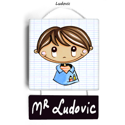Plaque de porte de classe LUDOVIC - cadeau maître