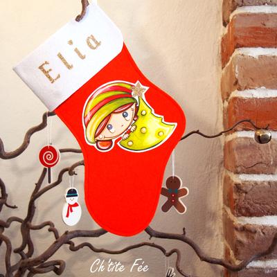 """Botte de Noël personnalisée """"Sapin"""" Fille (3 coloris)"""