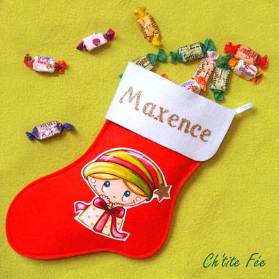 """Botte de Noël personnalisée """"Cadeau"""" Garçon (3 coloris)"""