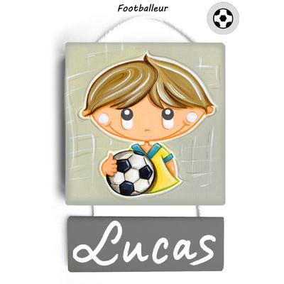 Plaque de porte personnalisable Footballeur