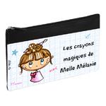 Trousse personnalisée - Motifs école - Cadeau maîtresse, maître, atsem, institutrice