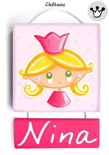 plaque de porte princesse rose