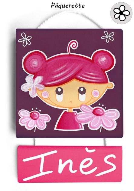 plaque de porte rose
