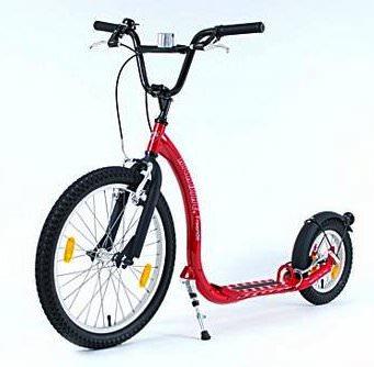 trottinette Kickbike Freeride Rouge Véloce et rapide Grandes roues gonflables Poids 10,5kg, cadre acier solide