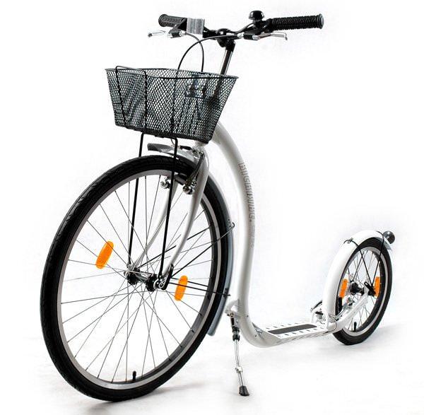 patinette Kickbike City G4 Blanc avec panier pour usage urbain cadre en acier 10,2kg grandes roues gonflables footbike