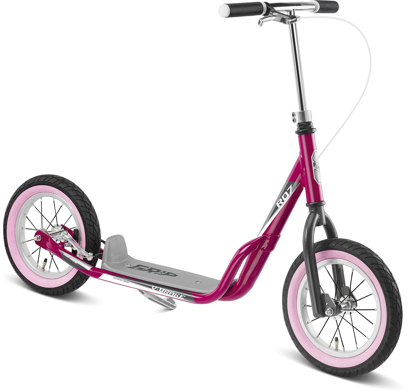 patinette puky R07L fille cross roue gonflable 7 ans frein arrière berry