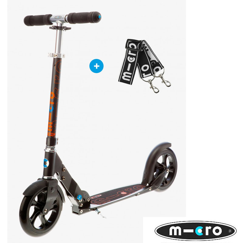 trottinette micro Black adulte urbaine roue de 200mm rapide et stable