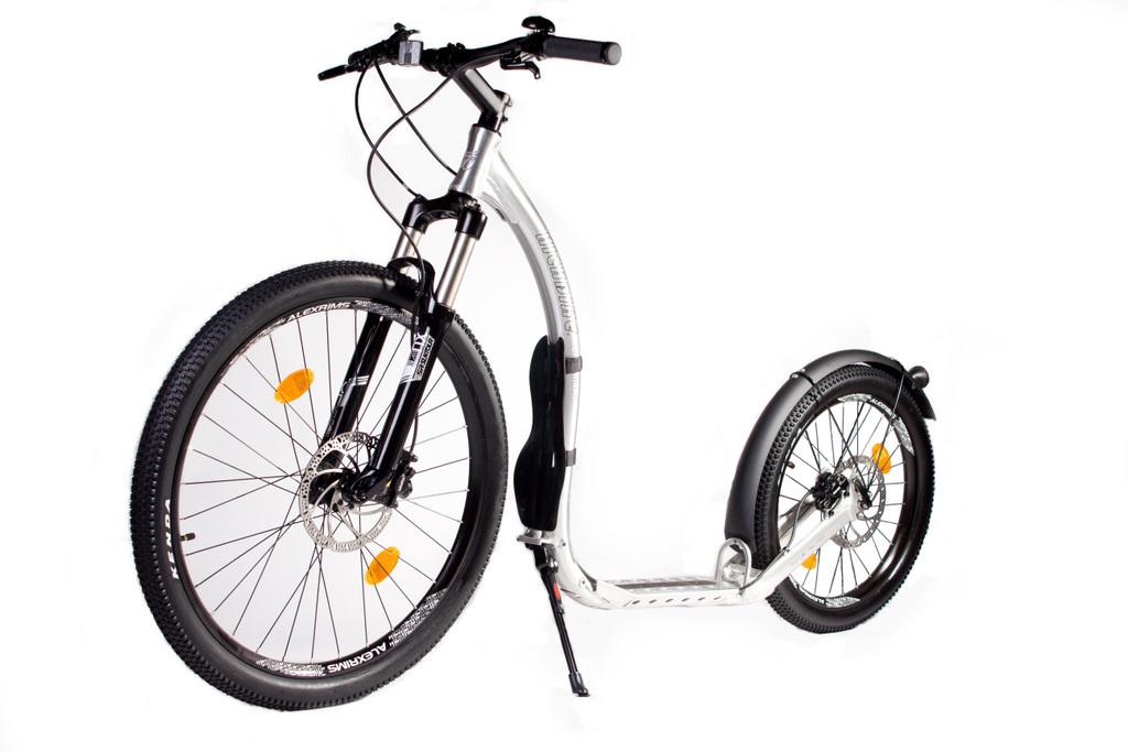 patinette Kickbike Crossmax HD Alu Brossé roue gonflable 26 et 20 pouces pneu VTT avec béquille
