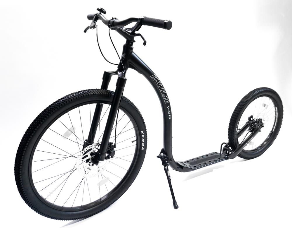 trottinette Kickbike Cross Fix Noire grandes roue VTT footbike dès 14 ans ou 150cm