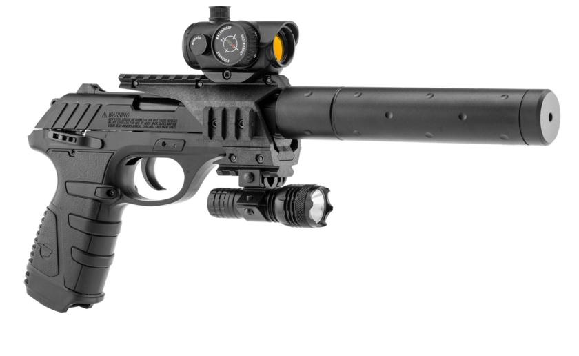 pistolet à plomb avec laser et silencieux