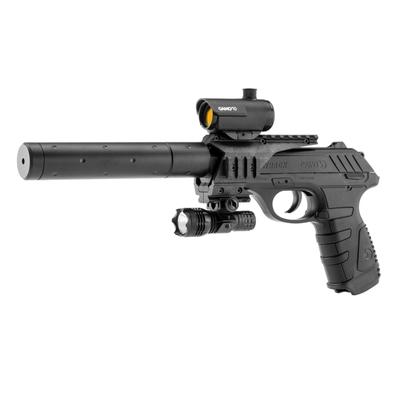 Pistolet à plomb avec silencieux et viseur point rouge