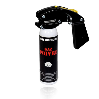 Mini extincteur lacrymogène avec poignée gaz poivre 100 ml
