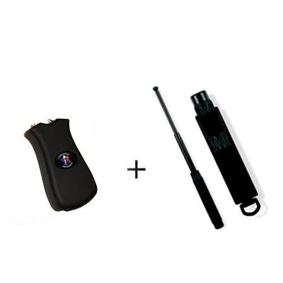 Pack Paralyseur - Shocker électrique 900 000 volts rechargeable + Bâton de défense télescopique 66 cm acier