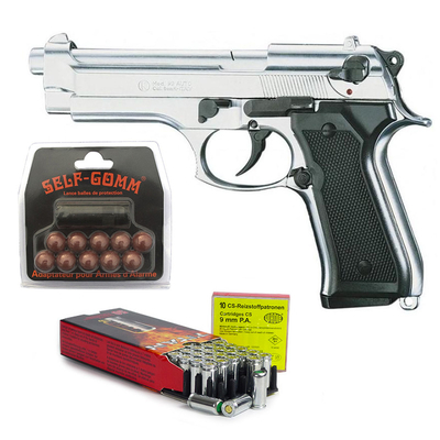 Pack Pistolet à blanc Beretta 92 F chrome calibre 9mm