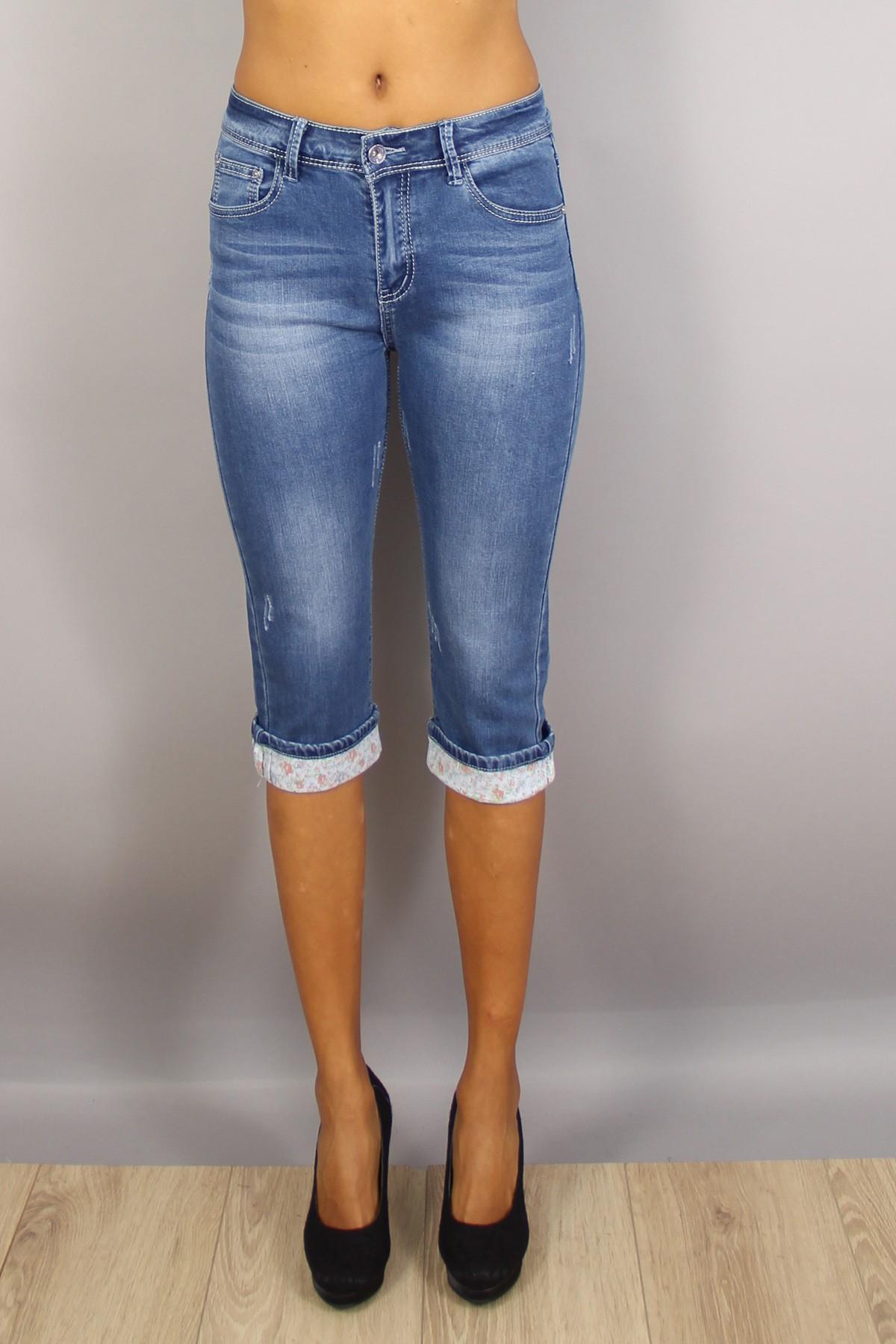 Bermuda jean femme taille haute bleu imprimé Xmax