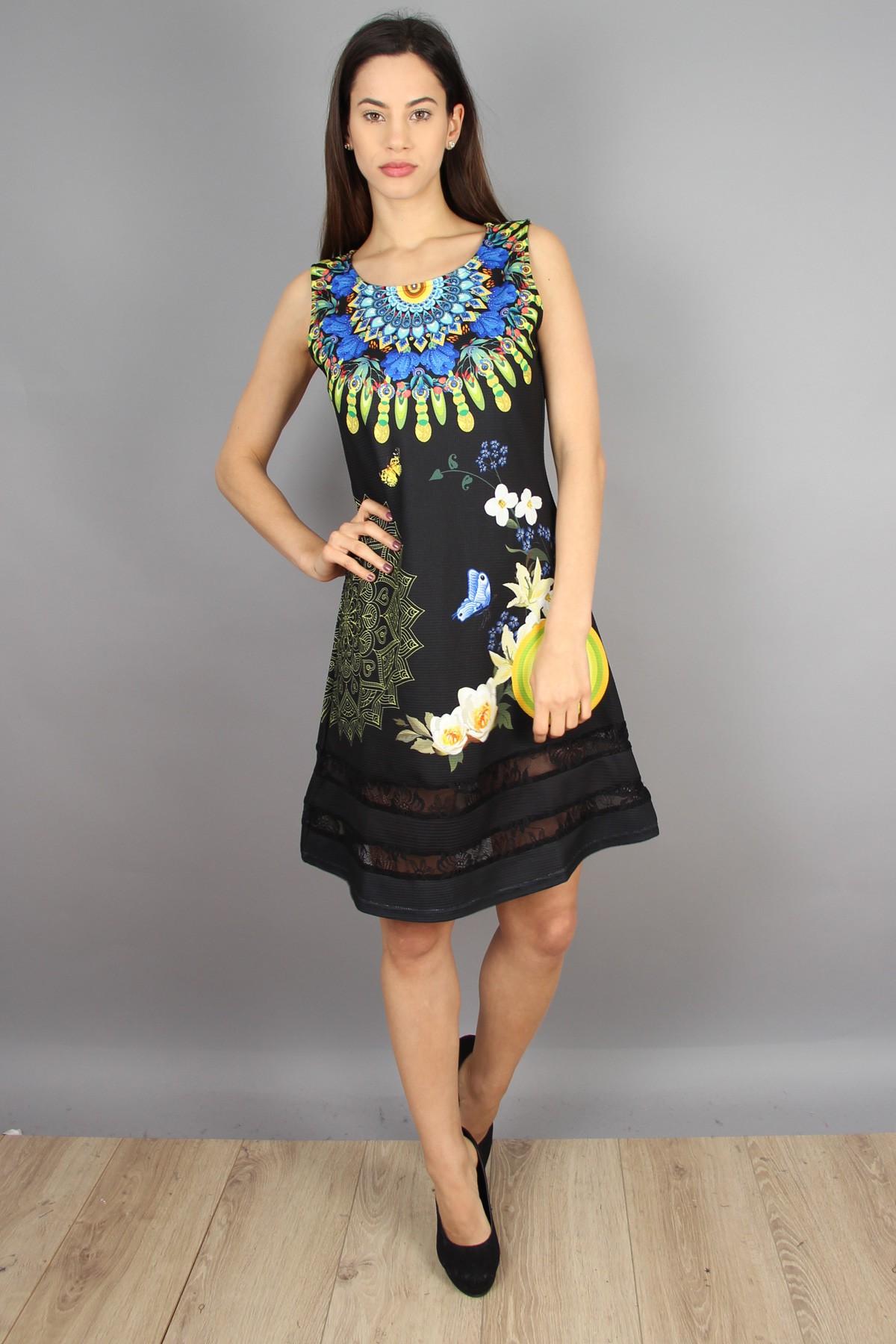 robe 101 idées évasée à dentelle et imprimé graphique eo a0606 noir