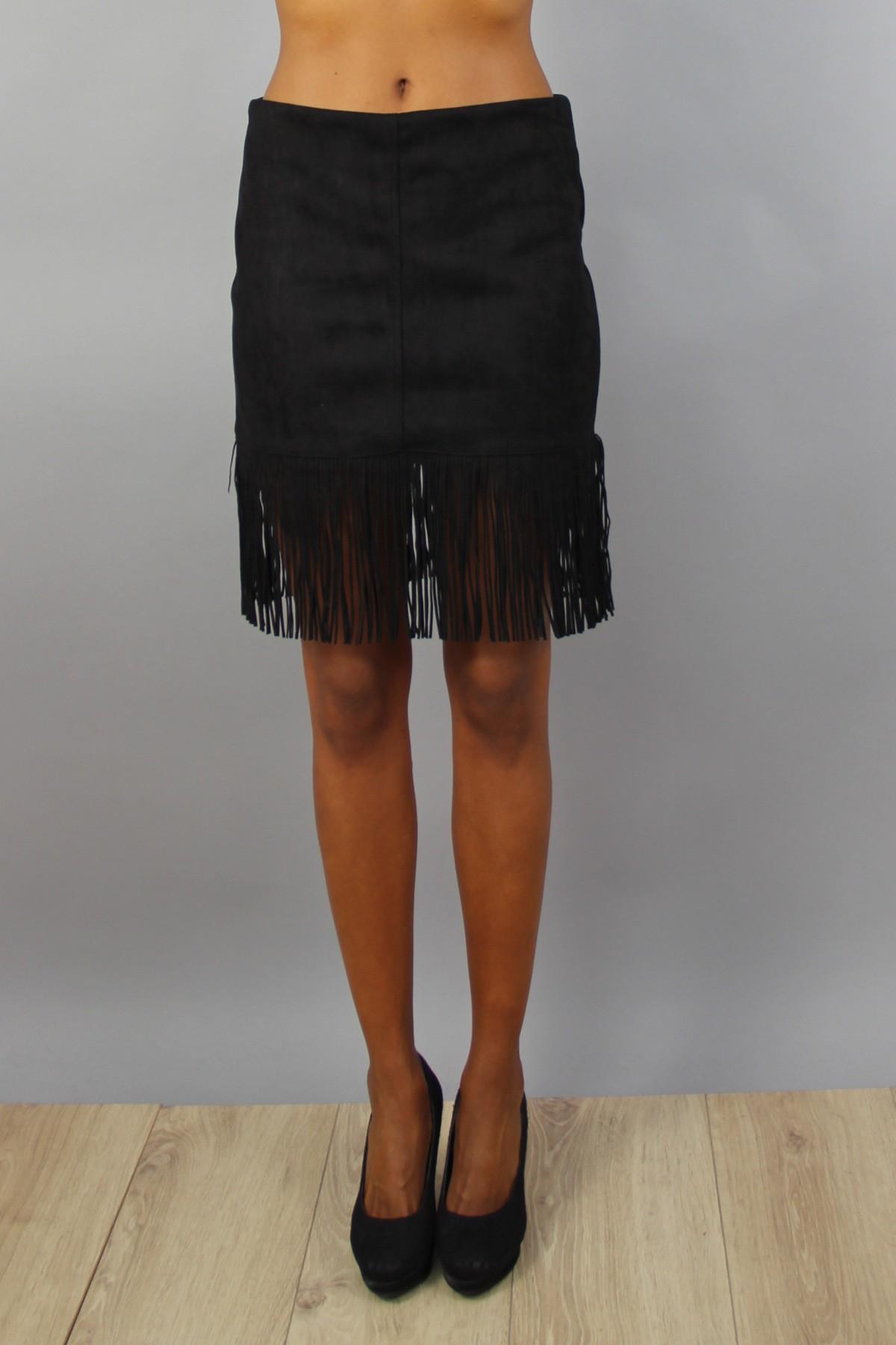 jupe en suédine à franges noir