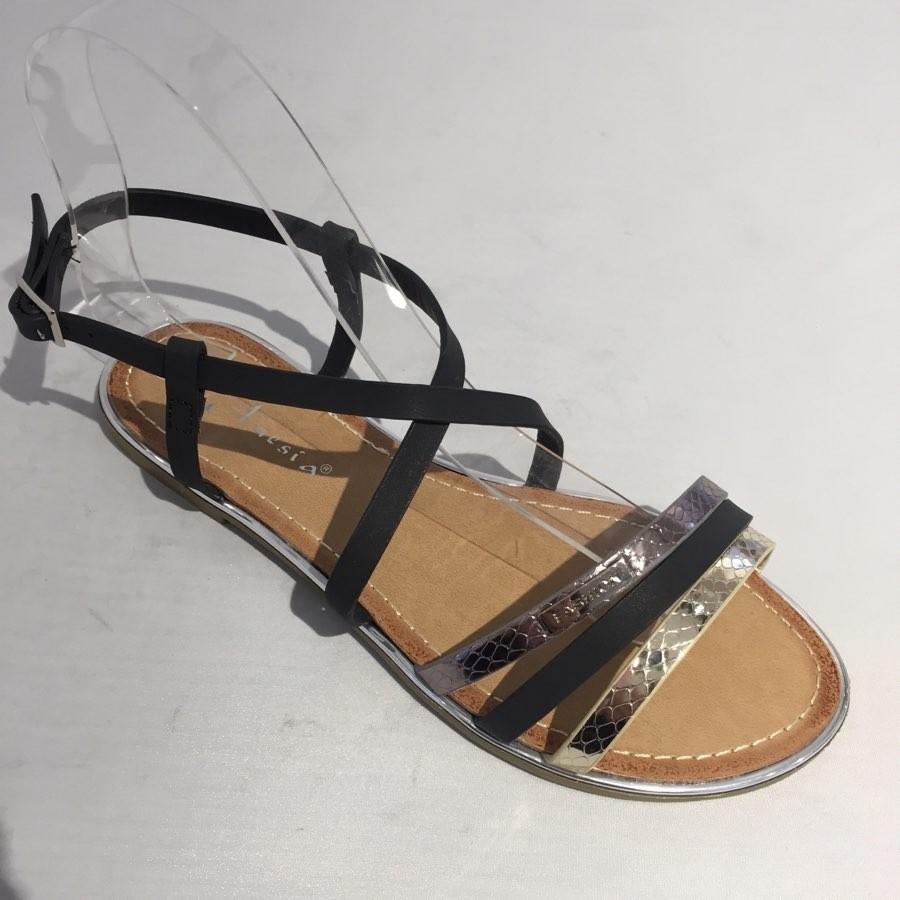 Sandales plates noir femme Bobo lc87