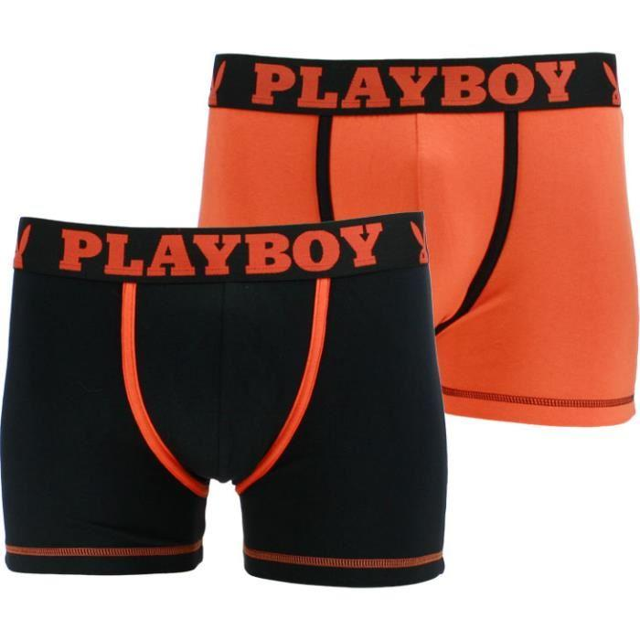 boxer playboy classic cool lot de 2 noir/orange et orange