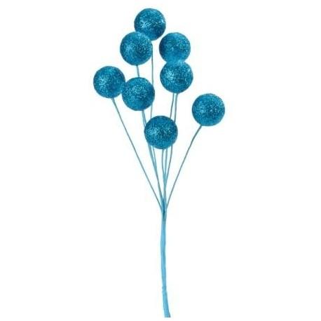 Centre de table - Piquet boules pailletées -  turquoise