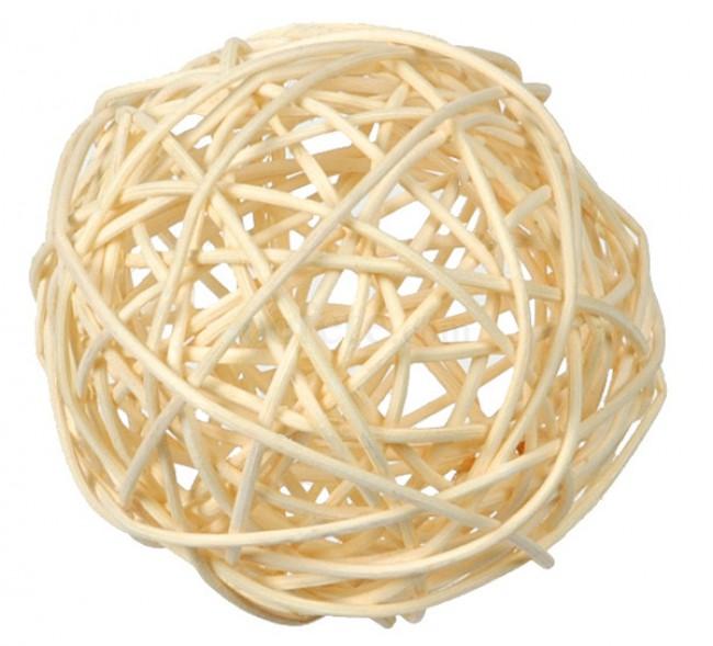 10 boules en rotin 3 tailles, ivoire blanc