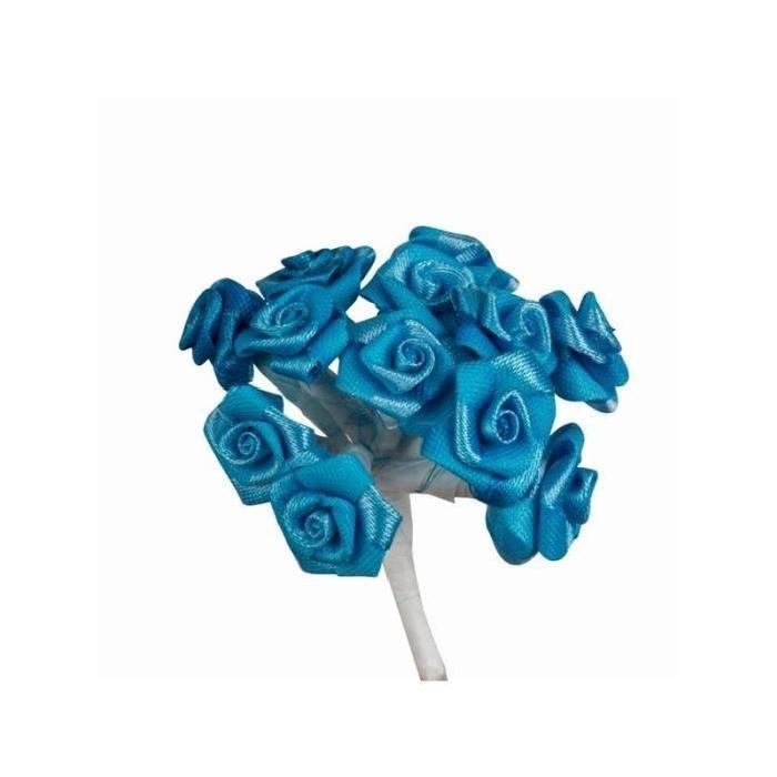 144 Mini Roses Tissu Turquoise