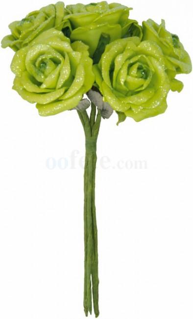 Bouquet de fleurs artificielles rose artificielle vert Santex