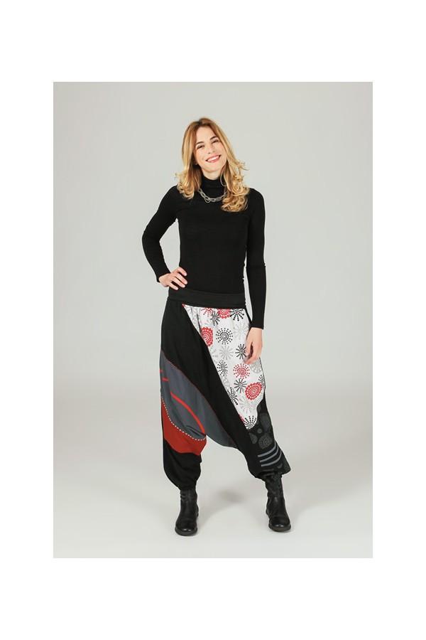Pantalon effet sarouel élastiqué aux chevilles - 1 imprimé pa905