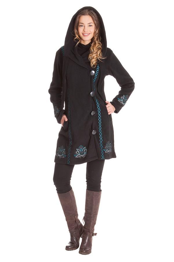 Manteau polaire noir avec capuche VE4516 Aller Simplement