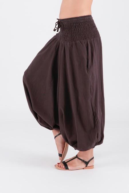 Pantalon sarouel grande taille unique 36 au 46 chocolat