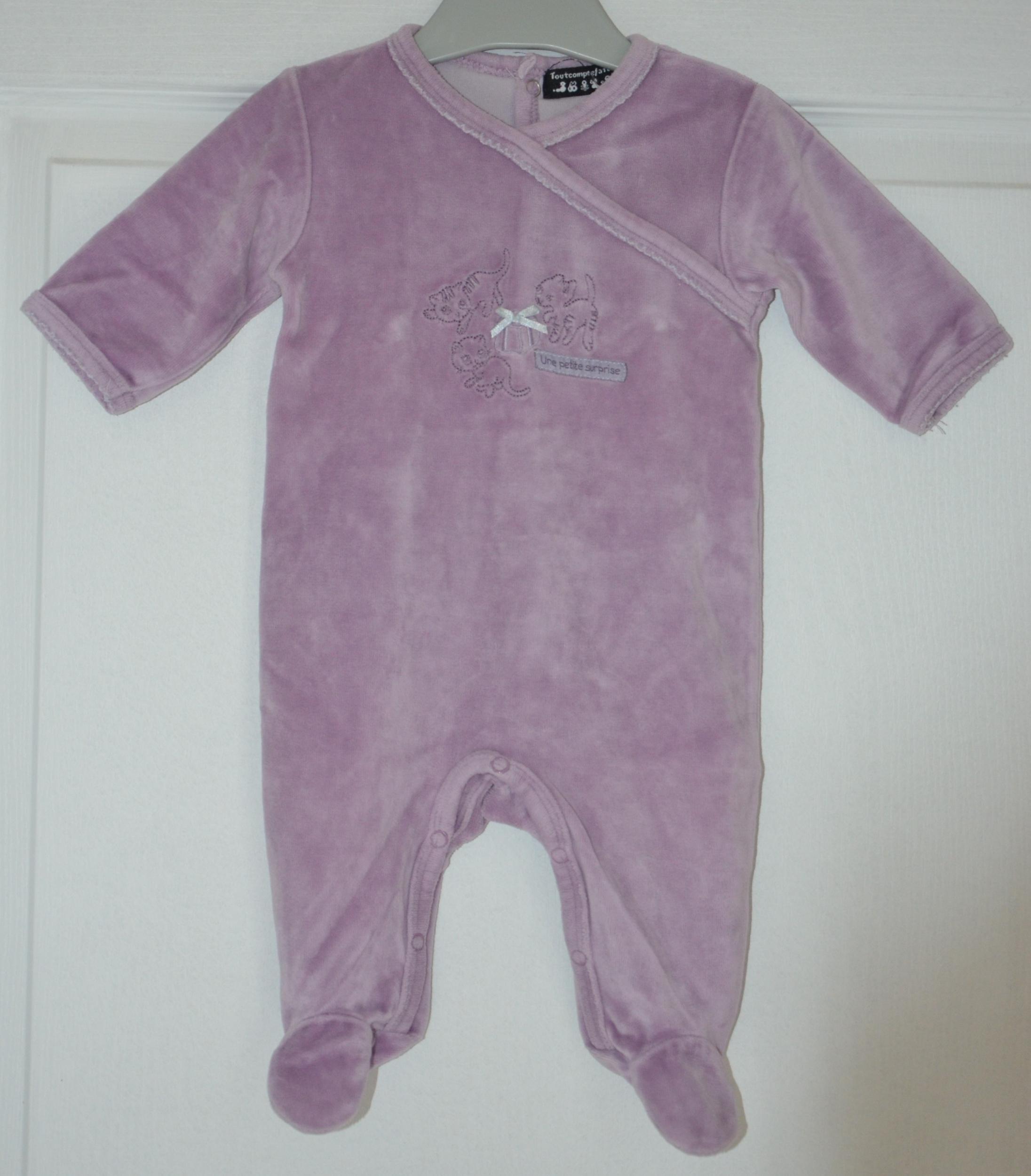 pyjama fille 3 mois tout compte fait mauve