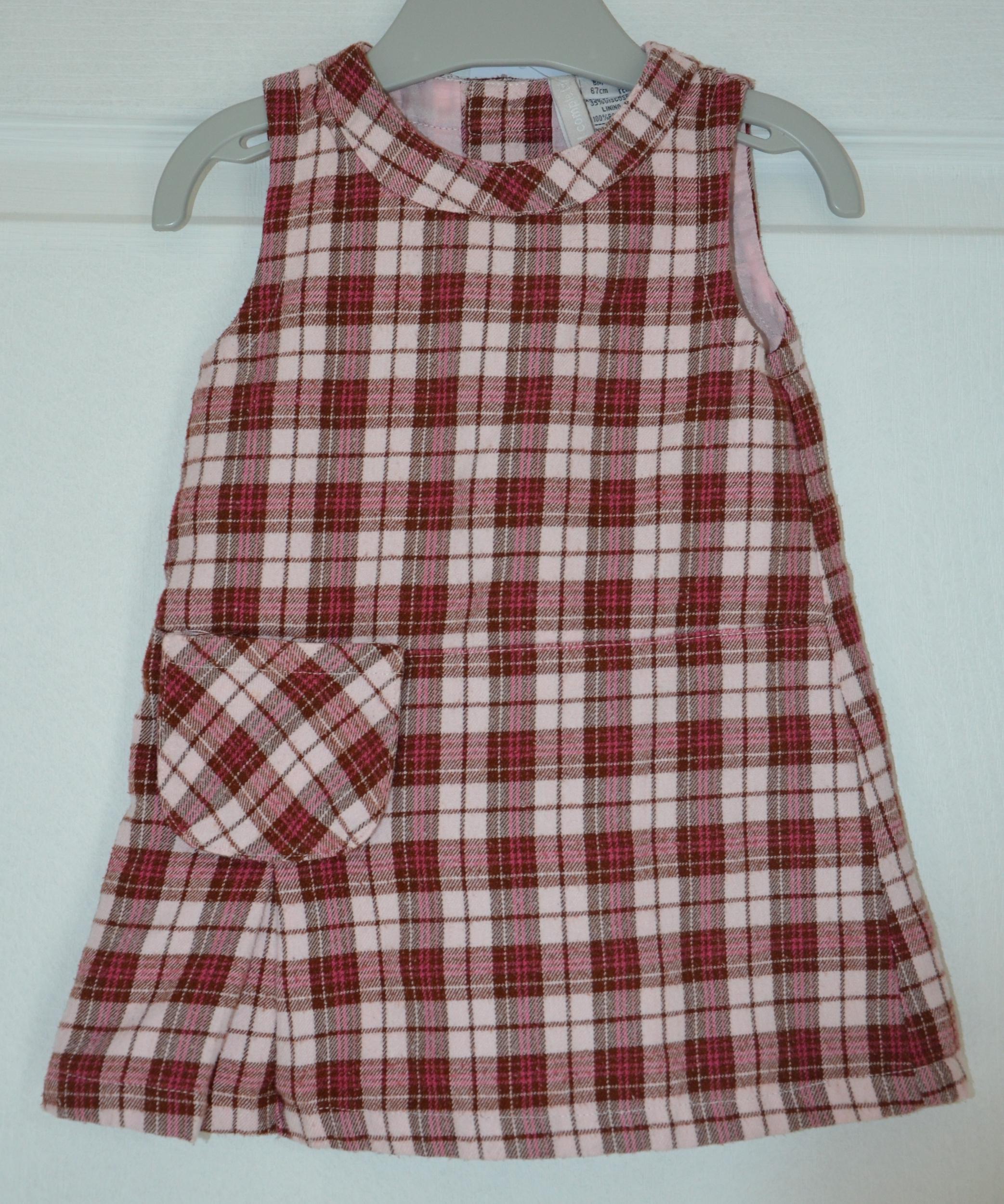 robe fille 6 mois tout compte fait carreaux rose