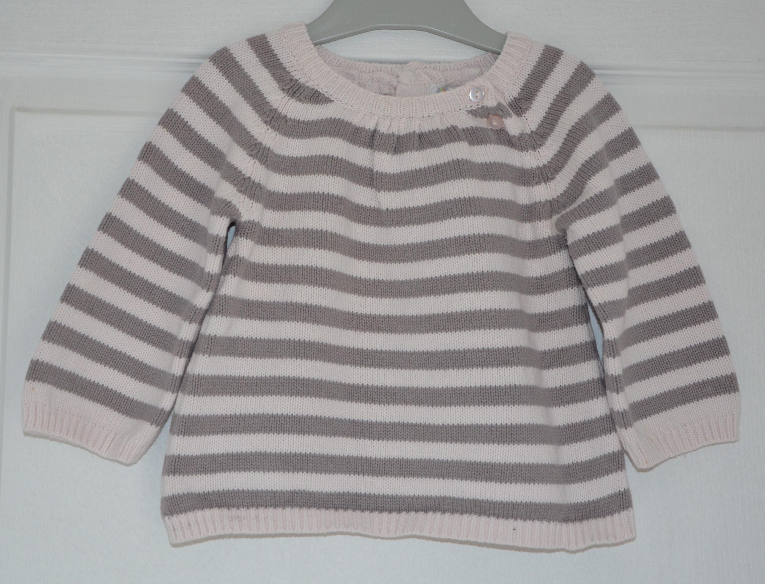 pull fille 12 mois kitchoun rayé rose
