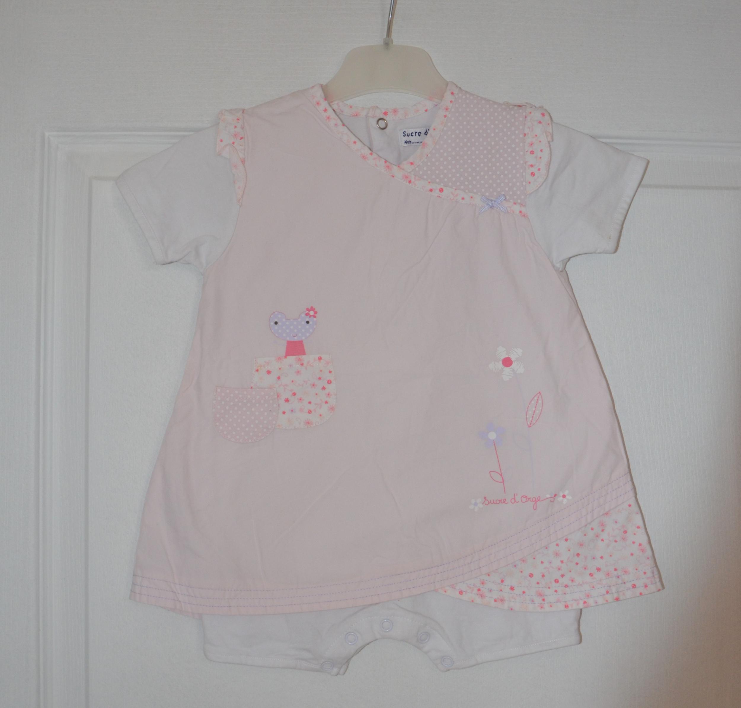 combishort fille 9 mois sucre d orge rose