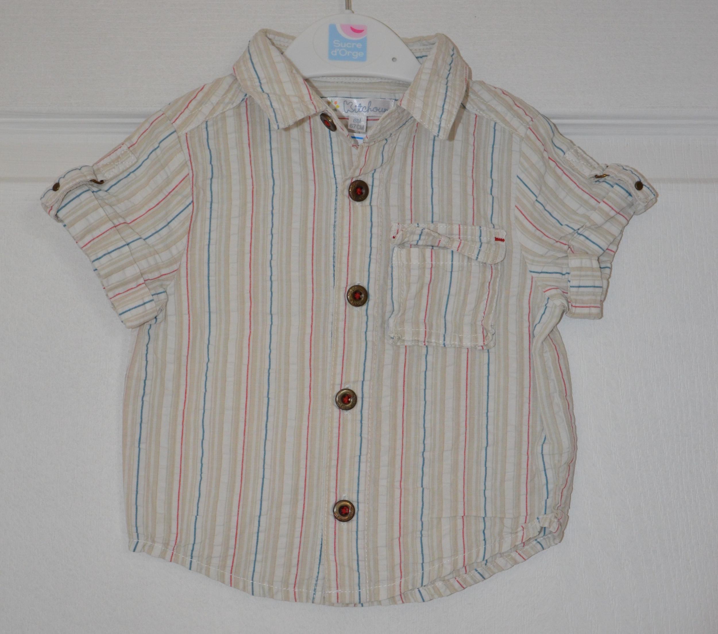chemisette grise rayée garçon 6 mois kitchoun
