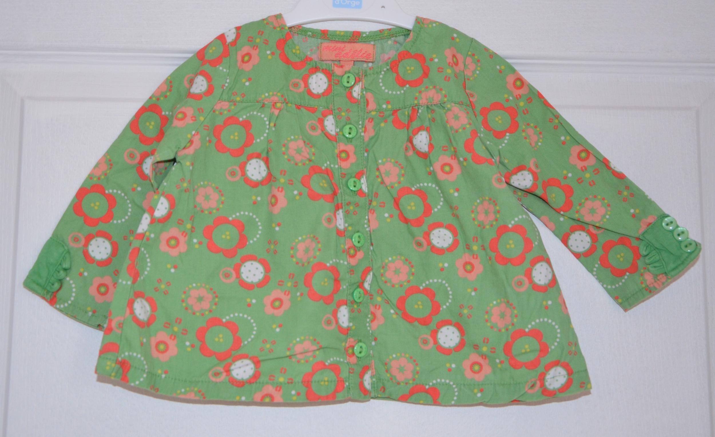 chemise verte et fleurs fille 6 mois mini adélie