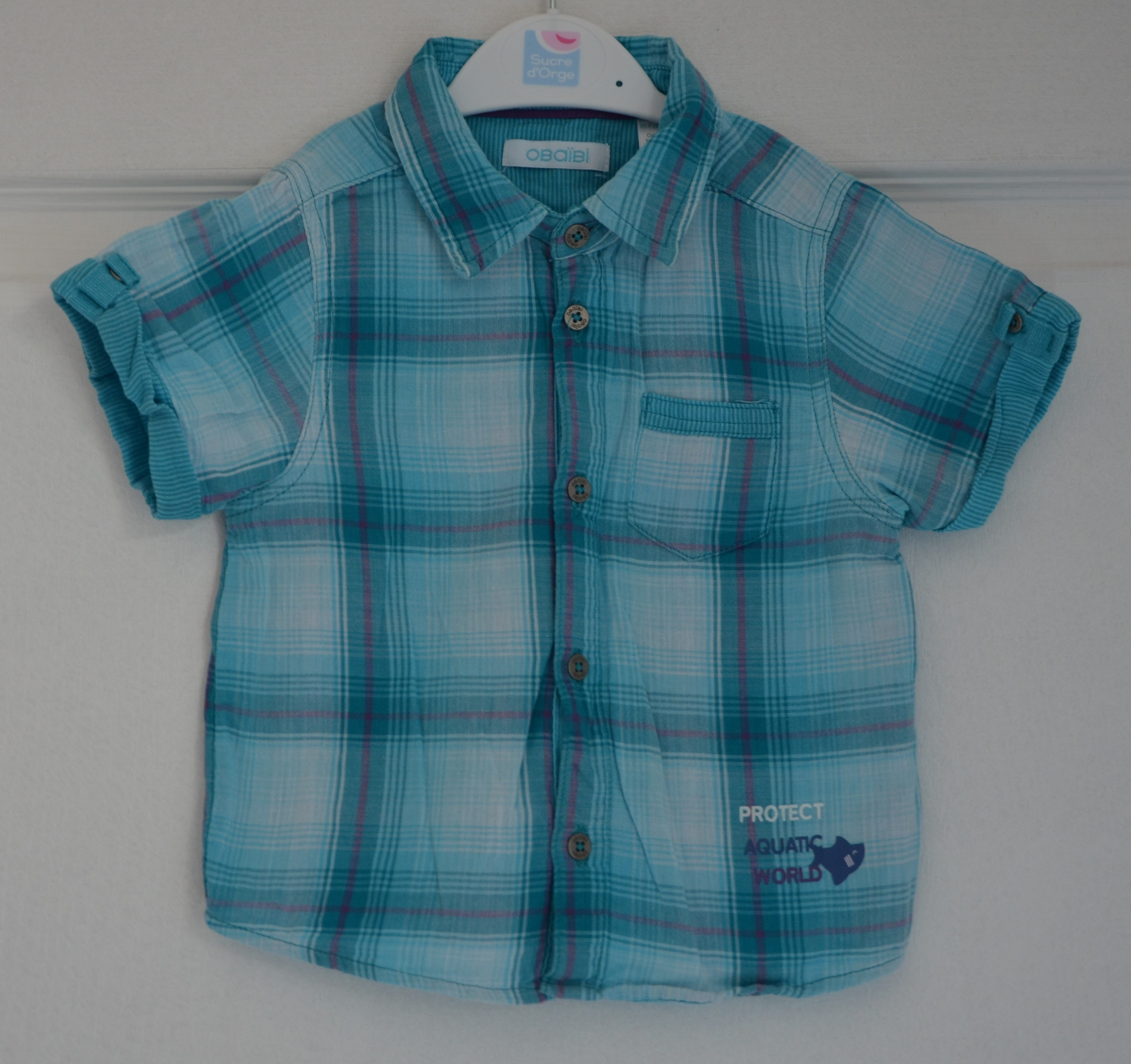 chemisette bleu garçon 18 mois obaïbi