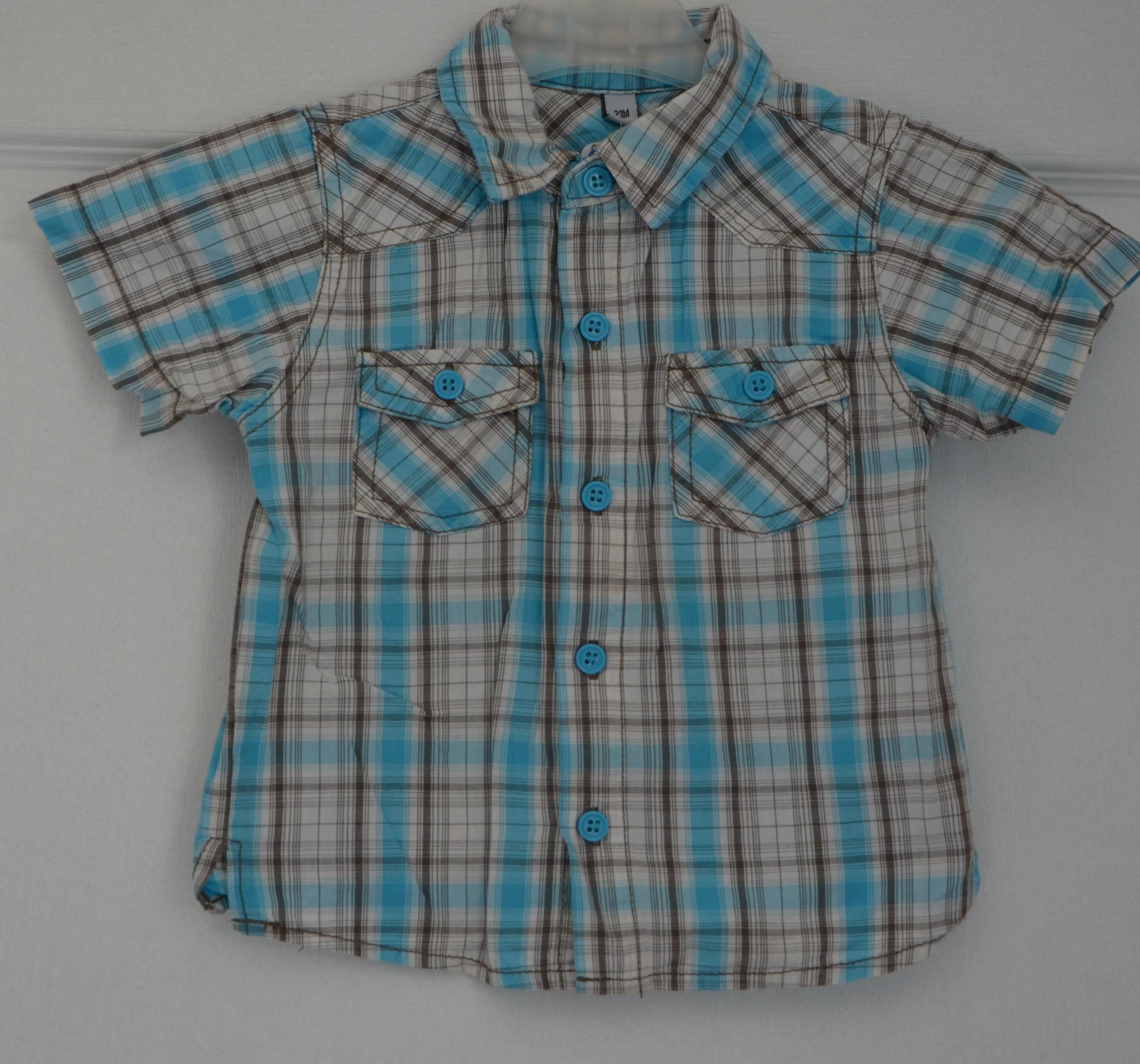 chemisette bleu marron carreaux garçon 23 mois sans marque
