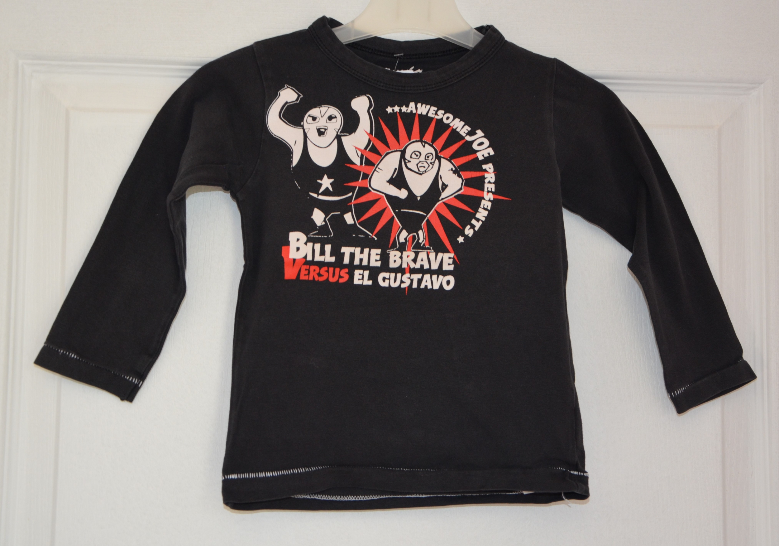 tee shirt noir manches longues garçon 24 mois pyxis kids