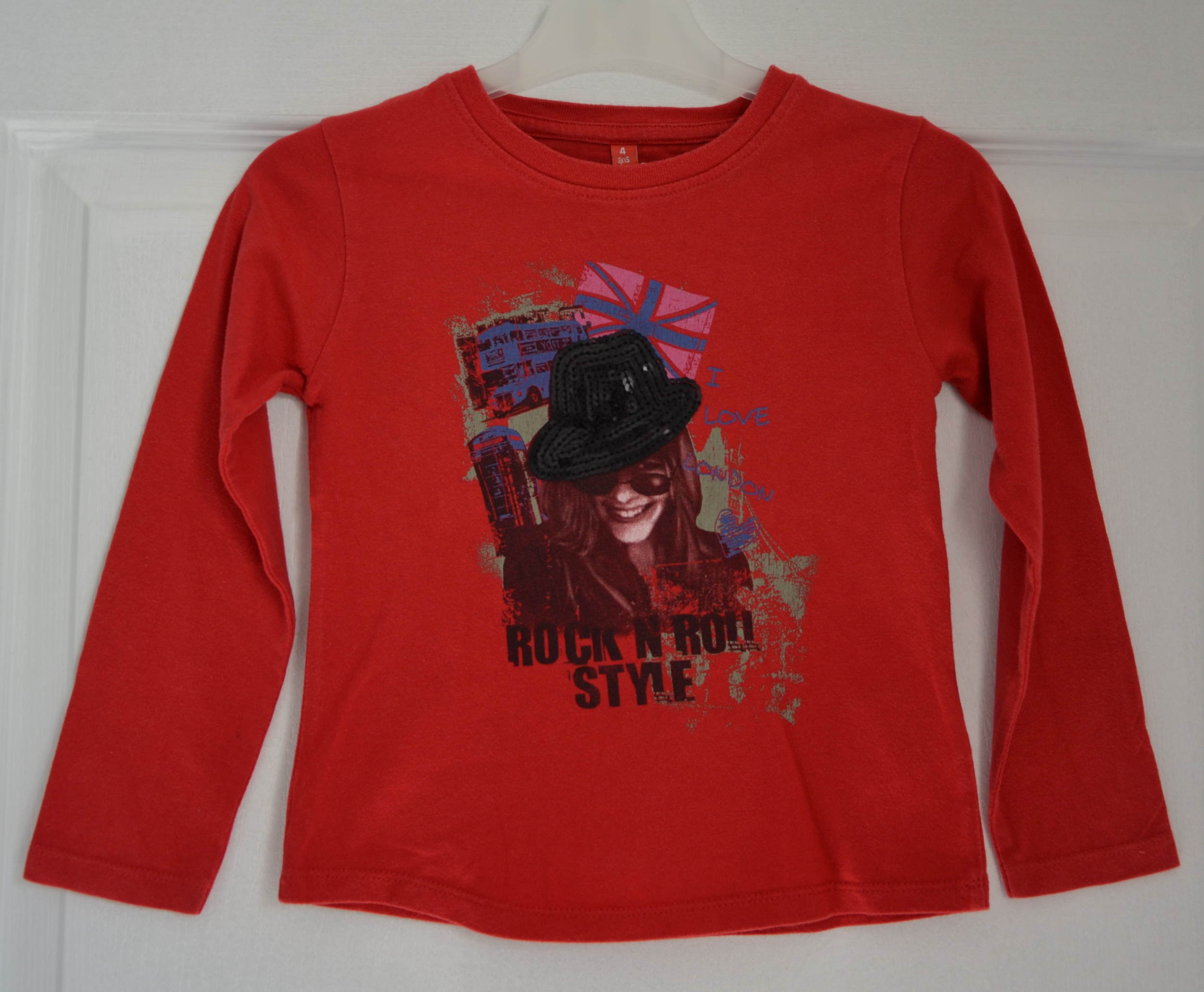 tee shirt rouge manches longues londres fille 4 ans rock roll attitude