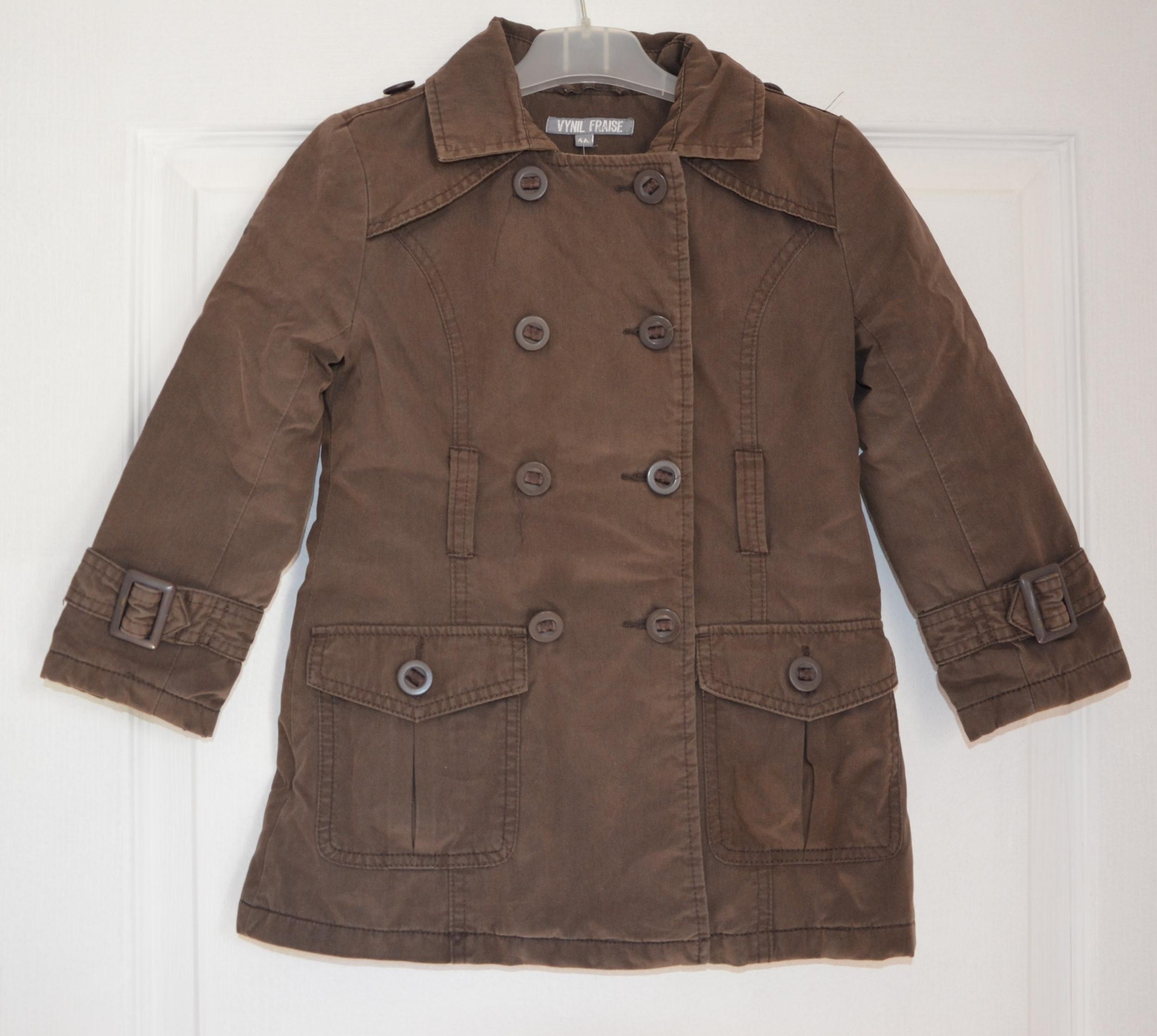 manteau trois quart marron fille 4 ans vynil fraise