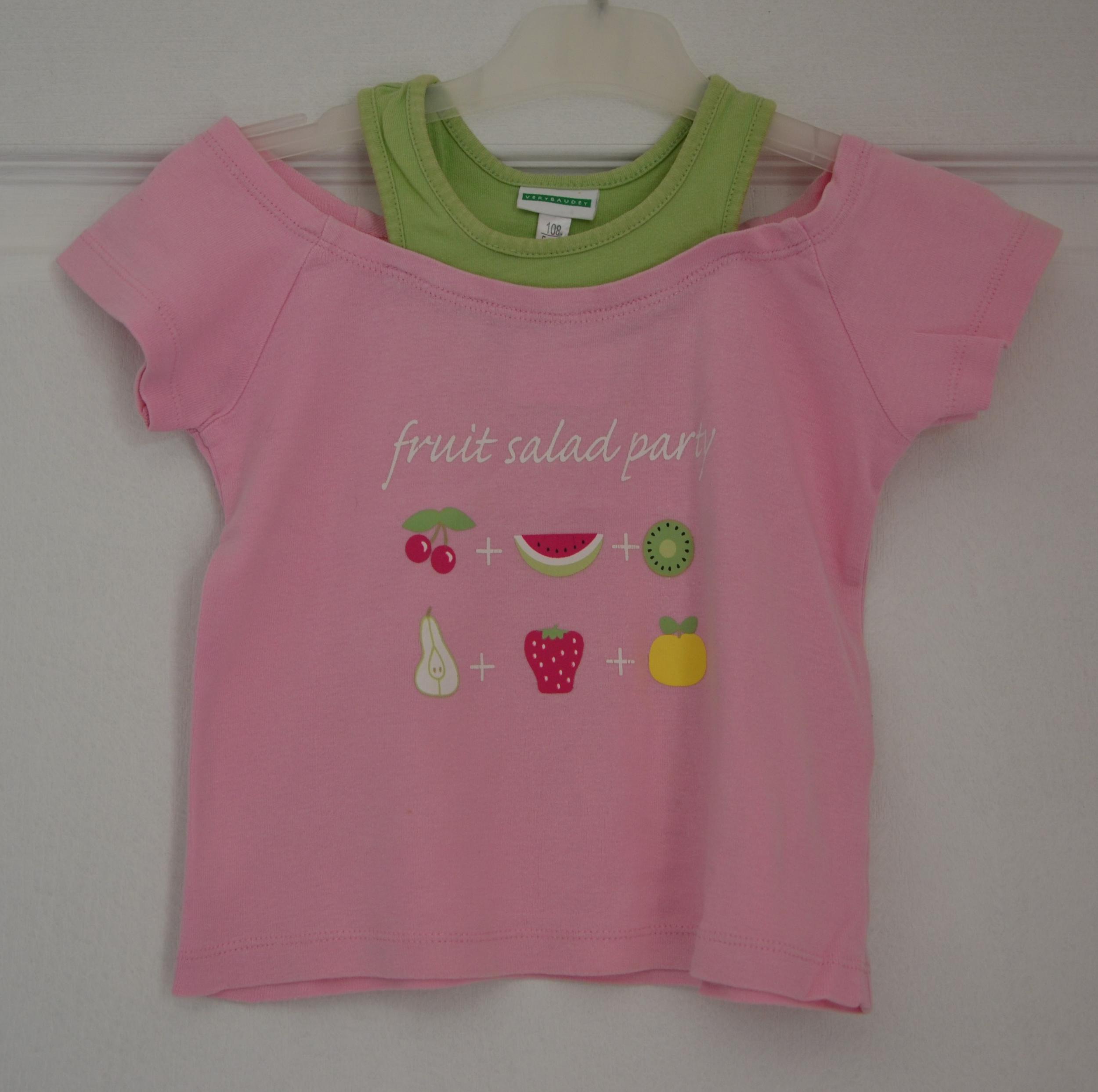 tee shirt rose fruit fille 5 ans vert baudet