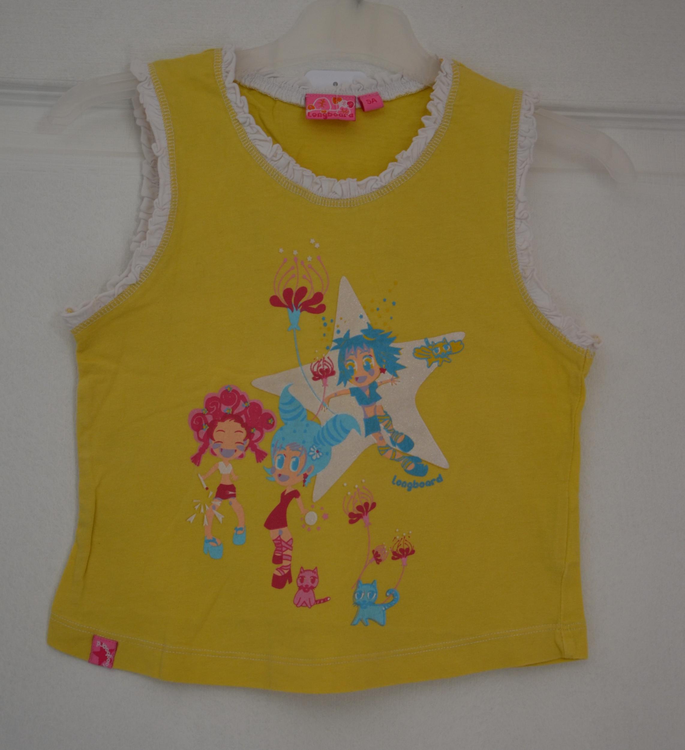 tee shirt jaune sans manches fille 5 ans longboard