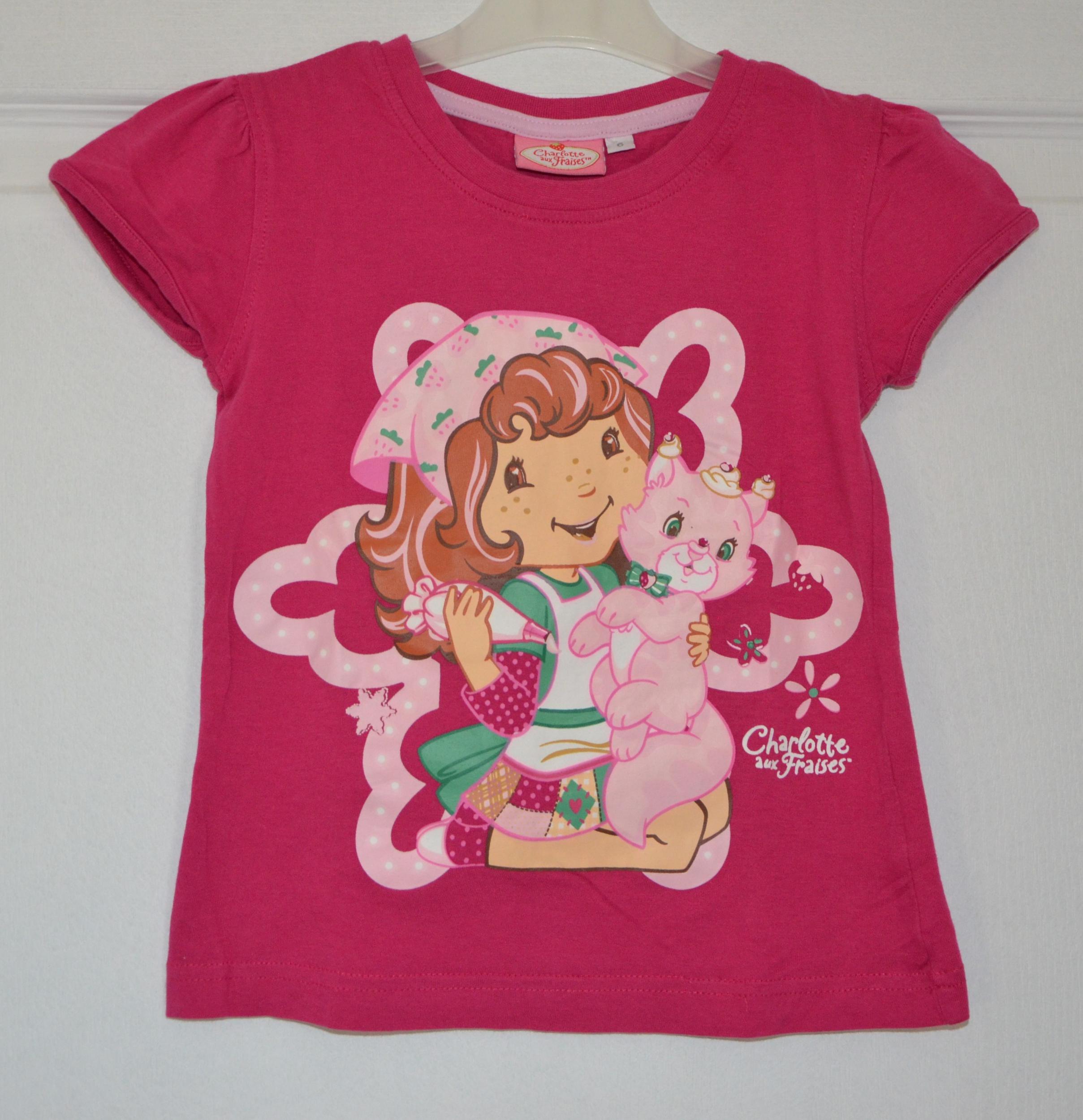 tee shirt rose charlotte aux fraises fille 6 ans charlotte aux fraises