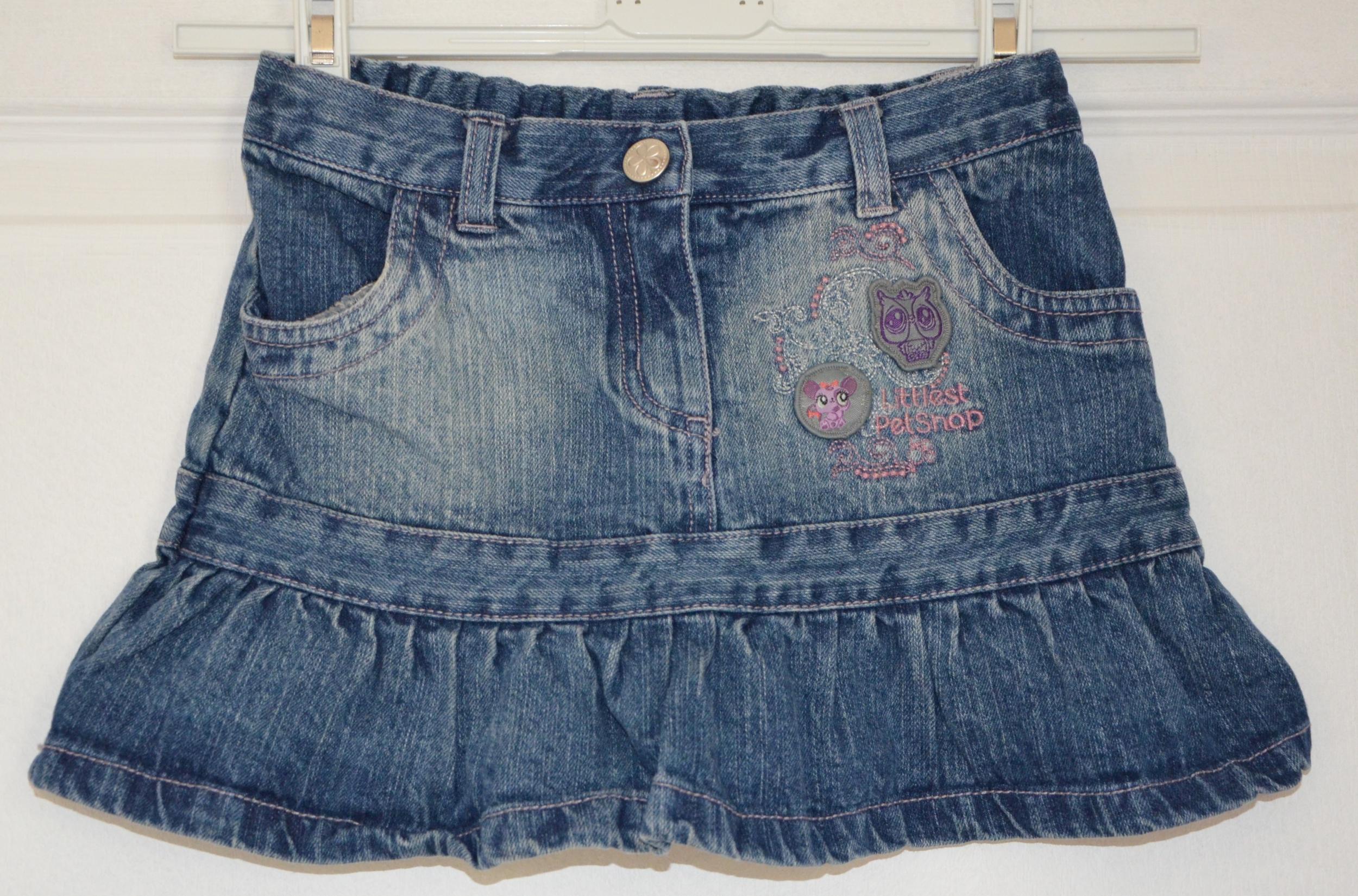 jupe jean pet shop ceinture réglable fille 6 ans littlest pet shop
