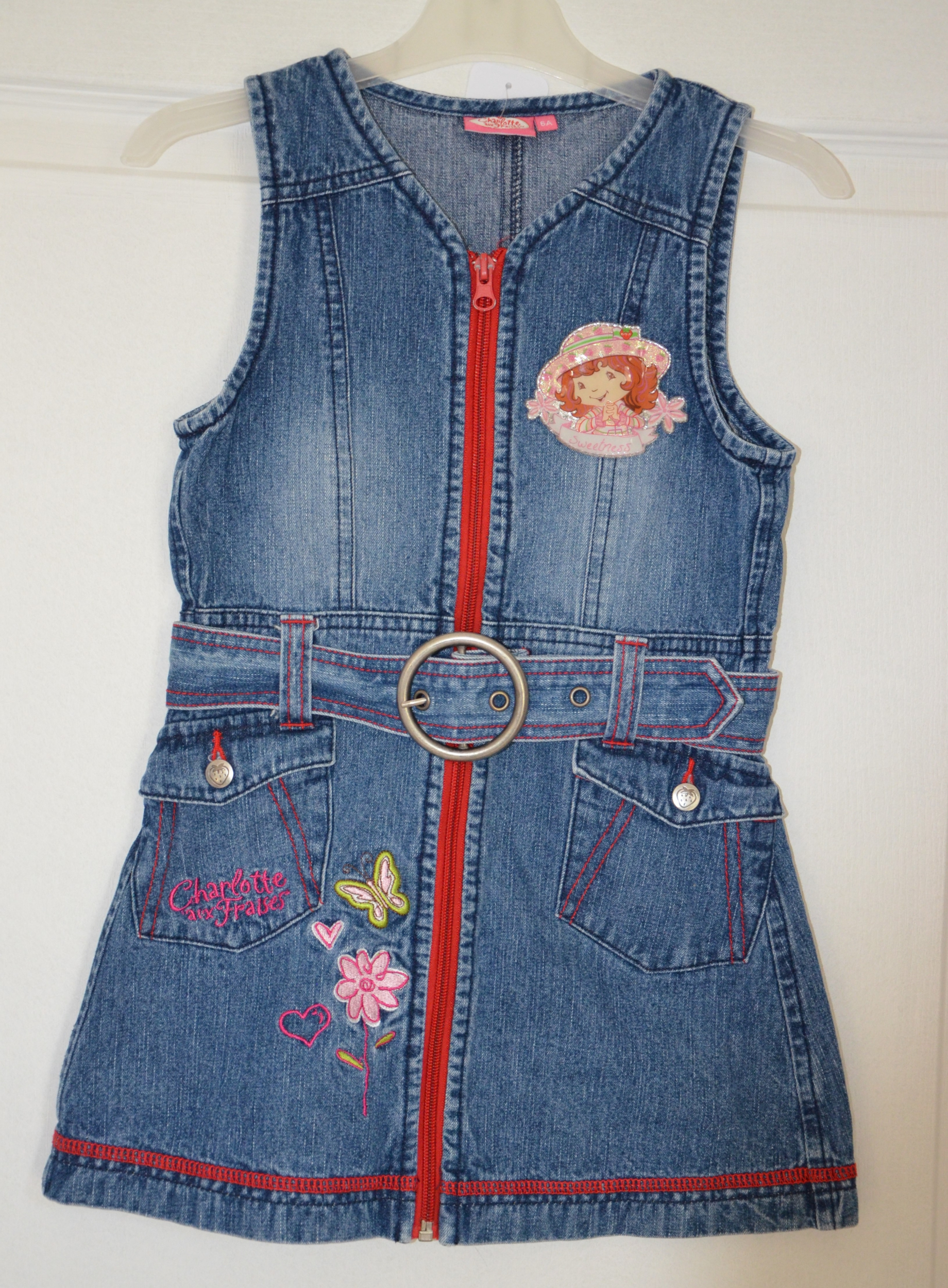 robe jean bleu bretelles charlotte aux fraises fille 6 ans charlotte aux fraises
