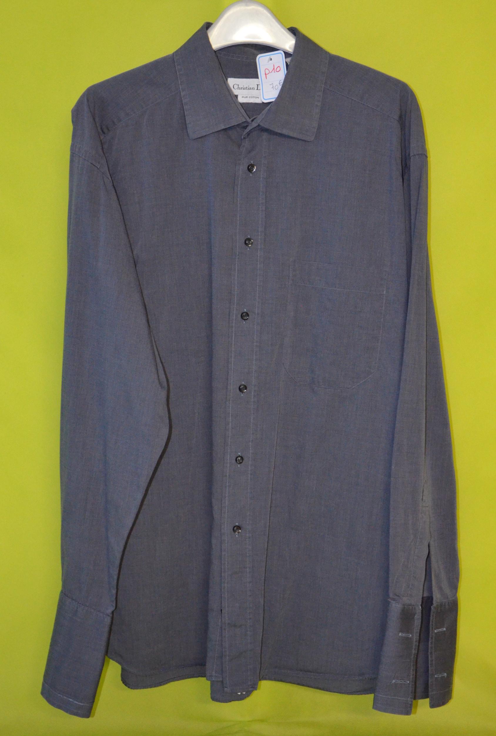 chemise homme christian dior 41-4 gris pur coton