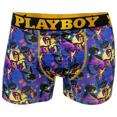 Boxer long multicolore en polyester stretch trendy imprimé tag playboy